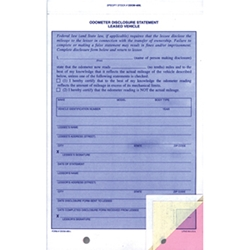 Lease Odometer Statements<br>Form #ODOM-489-L<br>For Pre-programmed Printers<br>100 per pack
