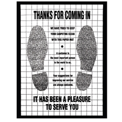 """Thanks for Coming In"" Poly-Back floor mats."