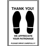 "Paper ""Thank You"" floor mats"